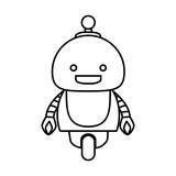 Cartoon little robot icon over white background, vector illustration