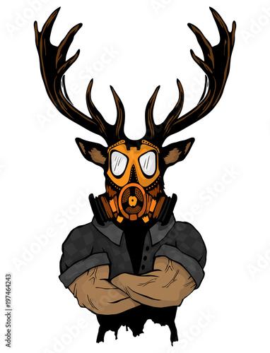 Plexiglas Hipster Hert Steep fashionable deer Hipster animal. Vintage style illustration for tattoo, logo, emblem