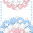Greeting card with 3d paper flowers and place for text. Romantic design with paper cut flovers in pastel colors. For invitations, wedding, birthday and other festive projects. - 197468047