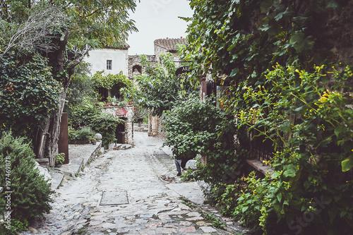 Ruelle pavée dans un village médiéval, Castelnou France