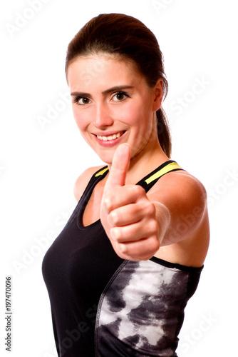 Aluminium Fitness Junge Sportlerin zeigt Daumen hoch