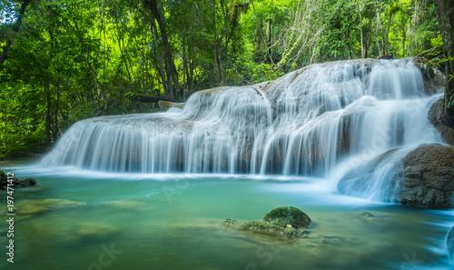 The Beautiful water fall Huay Mae Kamin in Kanjanaburi,Thailand - 197471412