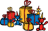 A set of the different gifts. All objects are isolated.