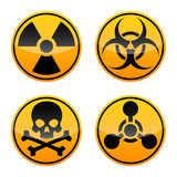 Danger vector sign set. Radiation sign, Biohazard sign, Toxic sign, Chemical Weapons Sign. - 197471695