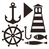 Anchor, Rudder, Lighthouse, Hook and Fish
