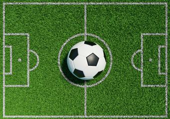 Fußball auf Rasen von Fußballplatz
