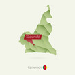 Постер, плакат: Green gradient low poly map of Cameroon with capital Yaounde