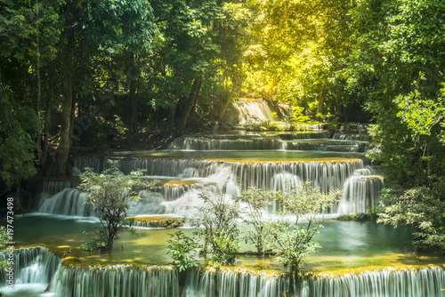 The Beautiful water fall Huay Mae Kamin in Kanjanaburi,Thailand