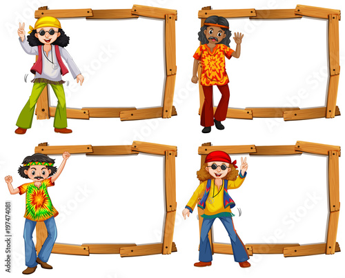 Fotobehang Kids Four wooden frame with men in the sixties