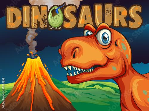 Fotobehang Kids Poster design with dinosaur T-Rex