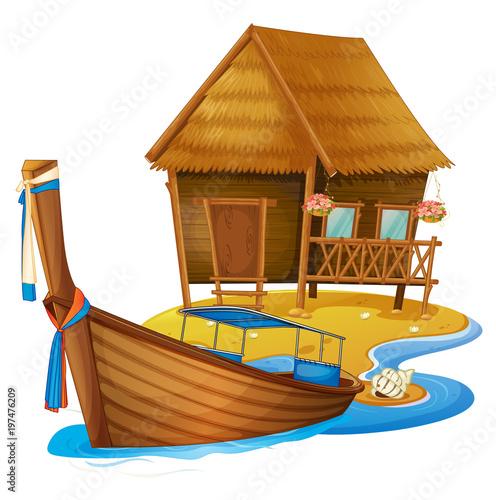 Fotobehang Kids Wooden cottage and boat on island
