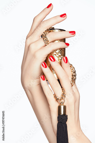 Beauty Nails. Female Hands With Red Manicure. - 197476645