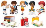 Kids reading books on white background - 197476827
