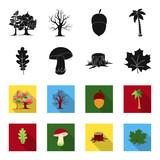 Oak leaf, mushroom, stump, maple leaf.Forest set collection icons in black,flet style vector symbol stock illustration web. - 197480468