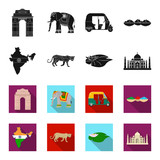 Country India black,flet icons in set collection for design.India and landmark vector symbol stock web illustration. - 197480657