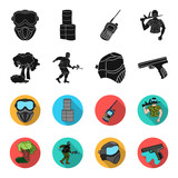 Mask, gun, paint, inventory .Paintball set collection icons in black,flet style vector symbol stock illustration web.