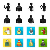 Military, fireman, artist, policeman.Profession set collection icons in black,flet style vector symbol stock illustration web.