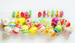 Leinwanddruck Bild - Ostern, Frohe Ostern, Ostereier, bunt, auf weißem Holz, Banner, Panorama, hochauflösend, Textraum, copy space