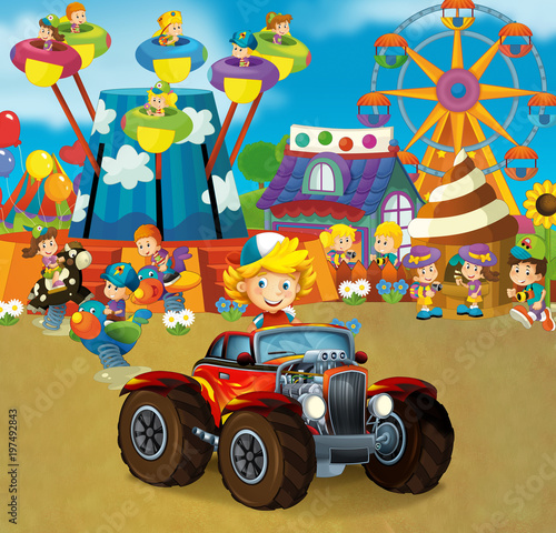 Fotobehang Amusementspark cartoon scene with happy and funny kids on the playground and in the car cabriolet - illustration for children