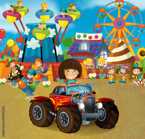 Aluminium Amusementspark cartoon scene with happy and funny kids on the playground and in the car cabriolet - illustration for children