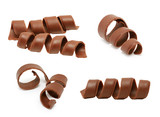 Chocolate curl set isolated on white background - 197495613