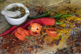 Hot Chili Peppers - Herbs and spices - mortar and pestle poster