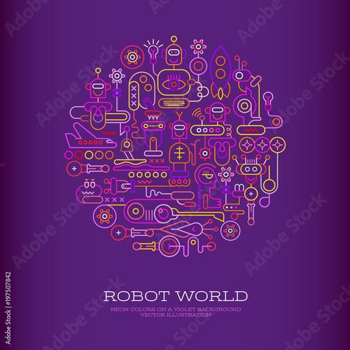 Plexiglas Abstractie Art Robot World vector illustration