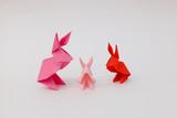 Three origami rabbits