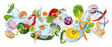 Fototapeta Łazienka - water splash panorama with various vegetables fresh basil ans thyme herb leafs isolated on white background / gemüse wasserspritzer wasser kochen hintergrund isoliert © stockphoto-graf