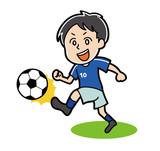 ドリブルをするサッカー選手のイラスト素材