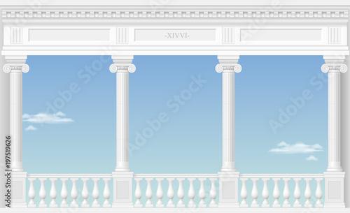 Balkon bajecznego pałacu w klasycznym stylu z widokiem na krajobraz chmurki. Grafika wektorowa