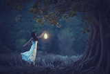 Beautiful girl in white holding a lantern in the autumn forest shining under the trees. - 197530423