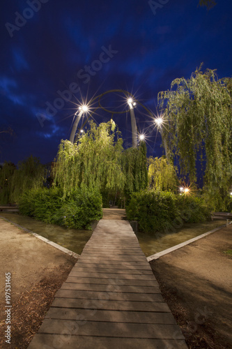 Aluminium Barcelona Parc del Centre del Poblenou at night