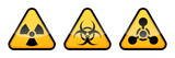 Warning vector signs set. Radiation sign, Biohazard sign, Chemical Weapons Sign. - 197533842