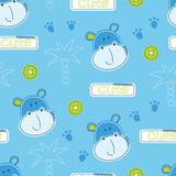 Cute hippo and palms seamless pattern - 197534037