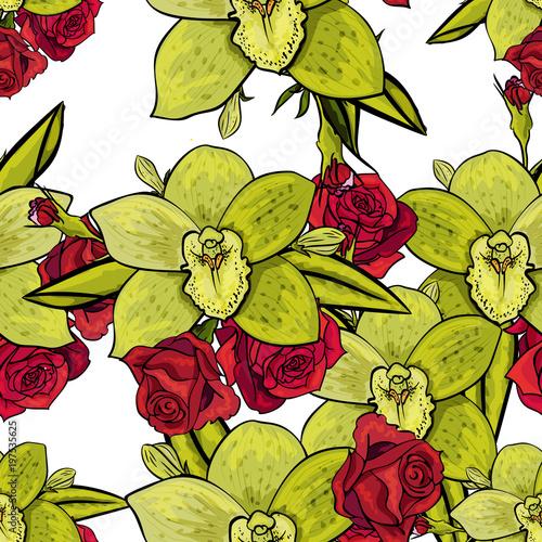 vector seamless flower pattern - 197535625