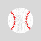 Fototapety Distressed baseball ball. Softball. Vector silhouette. Vector icon isolated