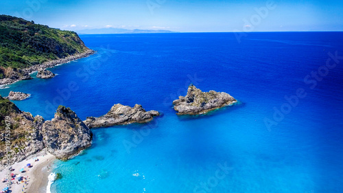 Fotobehang Donkerblauw Beautiful aerial view of Tonnara Beach, Calabria