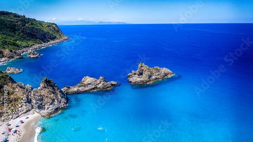 Foto op Aluminium Donkerblauw Beautiful aerial view of Tonnara Beach, Calabria