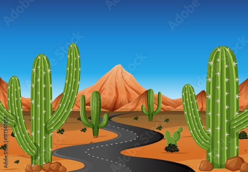Foto op Aluminium Blauw Background scene with road in the western land