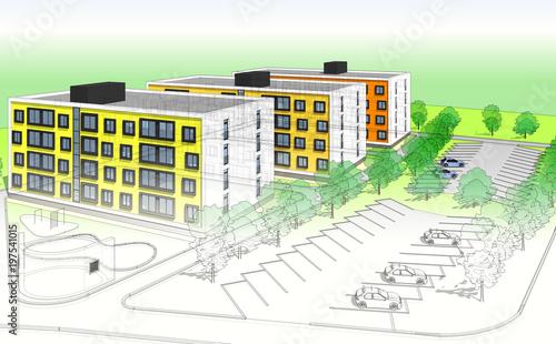 architektura budynków 3d ilustracji