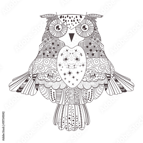 Fotobehang Uilen cartoon Owl. Silhouette. Black
