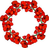 round wreath of flowering red poppies and green stems