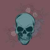 Skull and orchid flowers design element on dark red background