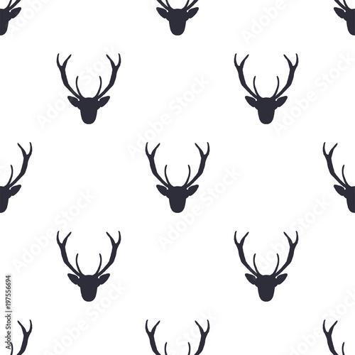 Plexiglas Hipster Hert Deer head pattern. Wild animal symbols seamless background. Deers icon. Retro wallpaper. Stock illustration isolated on white