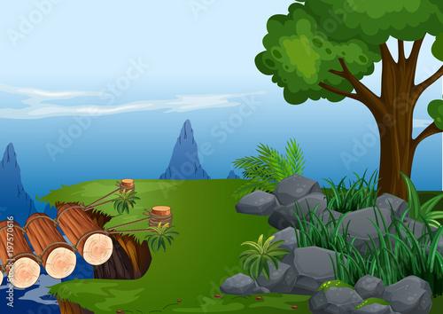 Fotobehang Kids Background scene with wooden bridge on cliff