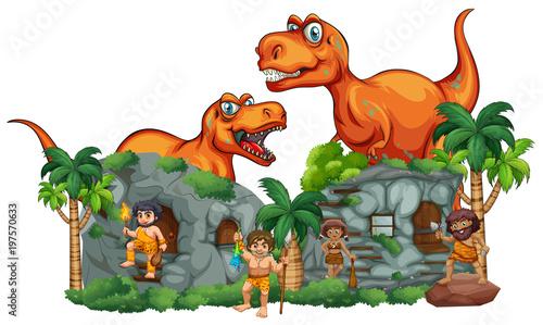 Fotobehang Kids T-Rex and cavemen at stonehouse