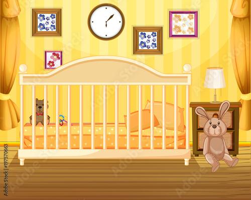 Fotobehang Kids Scene of bedroom in yellow