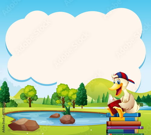 Fotobehang Kids Border template with duck reading book in the park