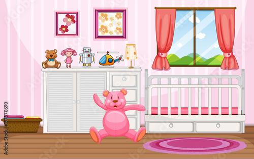 Fotobehang Kids Bedroom scene with pink teddybear and white crib